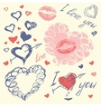 Valentine set with hearts Hand Drawn sketch style vector image