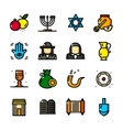 Thin line Judaism icons set vector image
