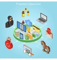 Cyber crime protection isometric concept vector image