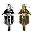 man ride a vintage motorcycle vector image