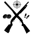 target with two shotguns and ammunition and vector image