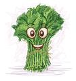 Happy kangkong vegetable cartoon character smiling vector image