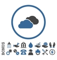 Clouds Flat Rounded Icon With Bonus vector image