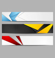 abstract bright tech geometric banners set design vector image