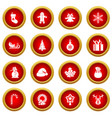 christmas icon red circle set vector image