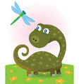 dinosaur and dragonfly vector image