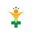 human health cross with star logo image vector image