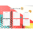 Planner calendar Schedule the week abstract design vector image