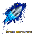 Space rocket with grunge splashes vector image