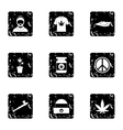 Cannabis icons set grunge style vector image