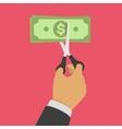 Hand cutting money bill vector image