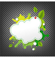Metal Background With Green Eco Speech Bubble vector image
