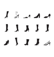Silhouette shoe and boot icons vector image vector image