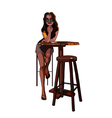 cartoon girl with glasses sitting on a bar stool vector image