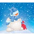 snowman snowfall vector image