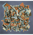 abstract fragmented sculpture in blue and orange vector image