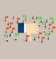 dislike thumbs down social media crowd people vector image