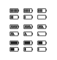 Simple black icons of batteries with different vector image