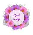 cosmos flower card design round invitation vector image