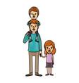 color crayon stripe cartoon dad with boy on his vector image