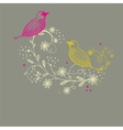 Cute greetings card with birds on a swing vector image vector image