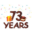 73 years birthday celebration for greeting cards vector image