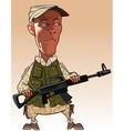 cartoon man holding a gun in his hands vector image