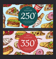 discount or gift voucher with fast food vector image