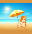 girl on the tropical beach vector image