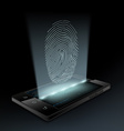 Icon fingerprint on the screen vector image