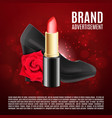 red lipstick ads template vector image