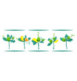 set of bouquets of fruits and leaves isolated on vector image
