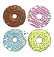Set of cartoon colorful tasty donuts on the white vector image