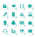 stylized audio and video icons vector image