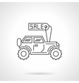 SUV for sale icon flat line design icon vector image