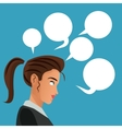 woman side thinking with bubbles speech vector image