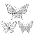 Zentangle stylized collection of butterflies vector image