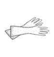 Detailed sketch of gloves for cleaning vector image