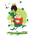 Greedy Leprechaun With A Pot Of Gold Over His Head vector image vector image