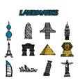 World landmarks flat icons set vector image