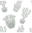 Zentangle mexican Cactus seamless pattern  Hand vector image