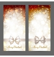 Two festive greeting cards with ribbon bow and vector image