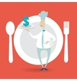 chef holding a tray icon dollar vector image vector image
