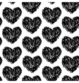 seamless pattern with hearts black and white vector image
