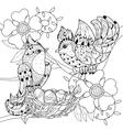 Zentangle sketch bird on nest Hand Drawn doodle vector image