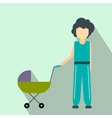 Mother with baby in stroller flat icon vector image
