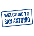 welcome to San Antonio blue grunge square stamp vector image