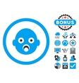 Baby Head Flat Icon with Bonus vector image