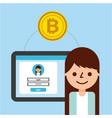 cartoon girl banking transaction bitcoin vector image