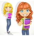 Cute teen girl with wavy hair shows OK vector image